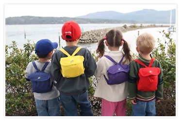 Kids wearing backpack jackets
